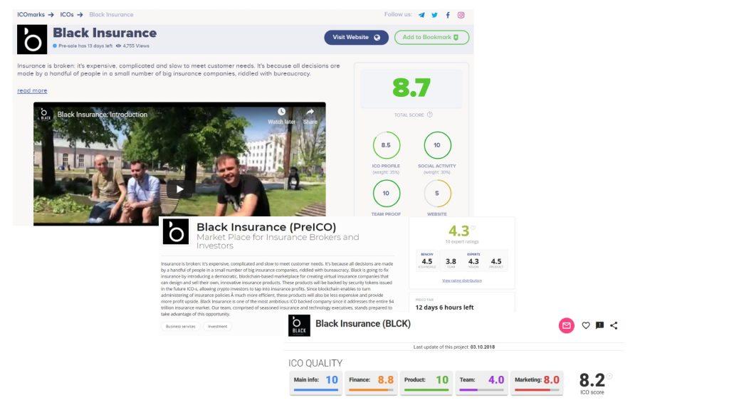 Black Insurance on ICO rating sites