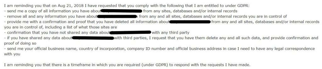 GDPR takedown request for ICO listing