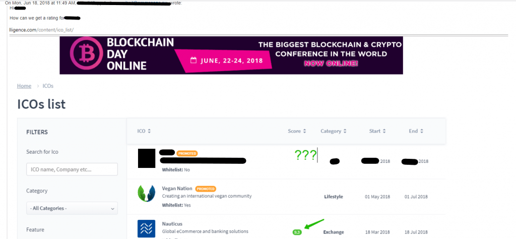 A promoted ICO requests an ICO rating