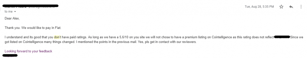 ICO rating improvement request