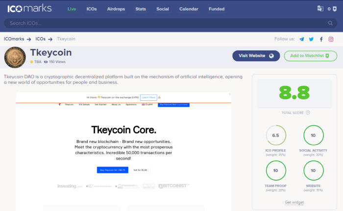 Tkeycoin review on ICOmarks