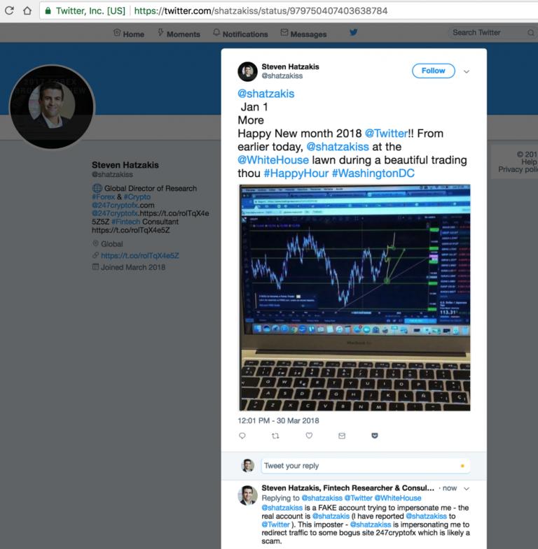 Typosquatting scam Twitter account