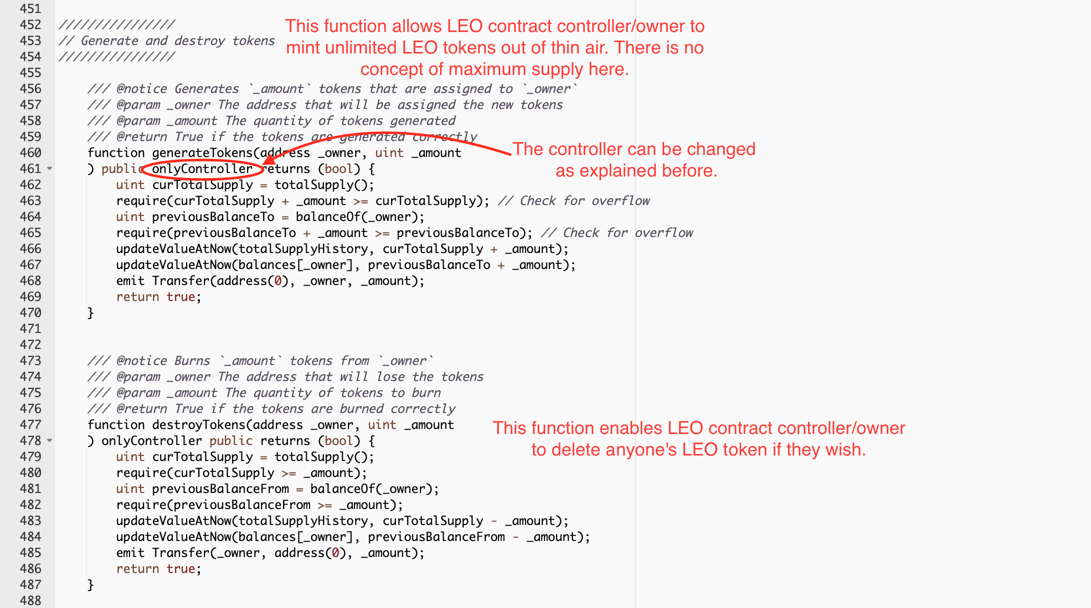 LEO contract The owner can burn your tokens and mint unlimited new tokens