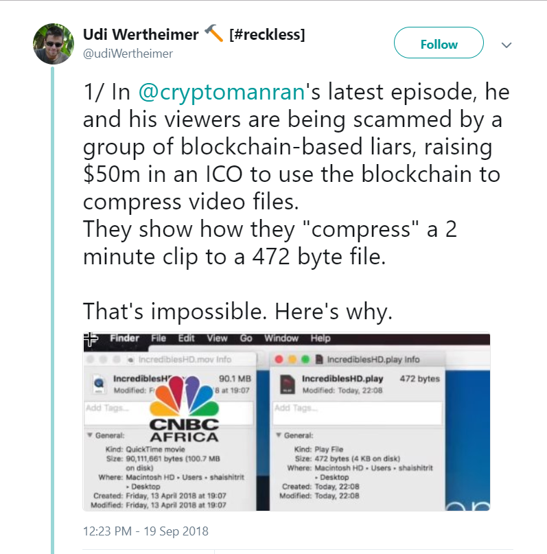 Udi Wertheimer tweets about an ICO scam