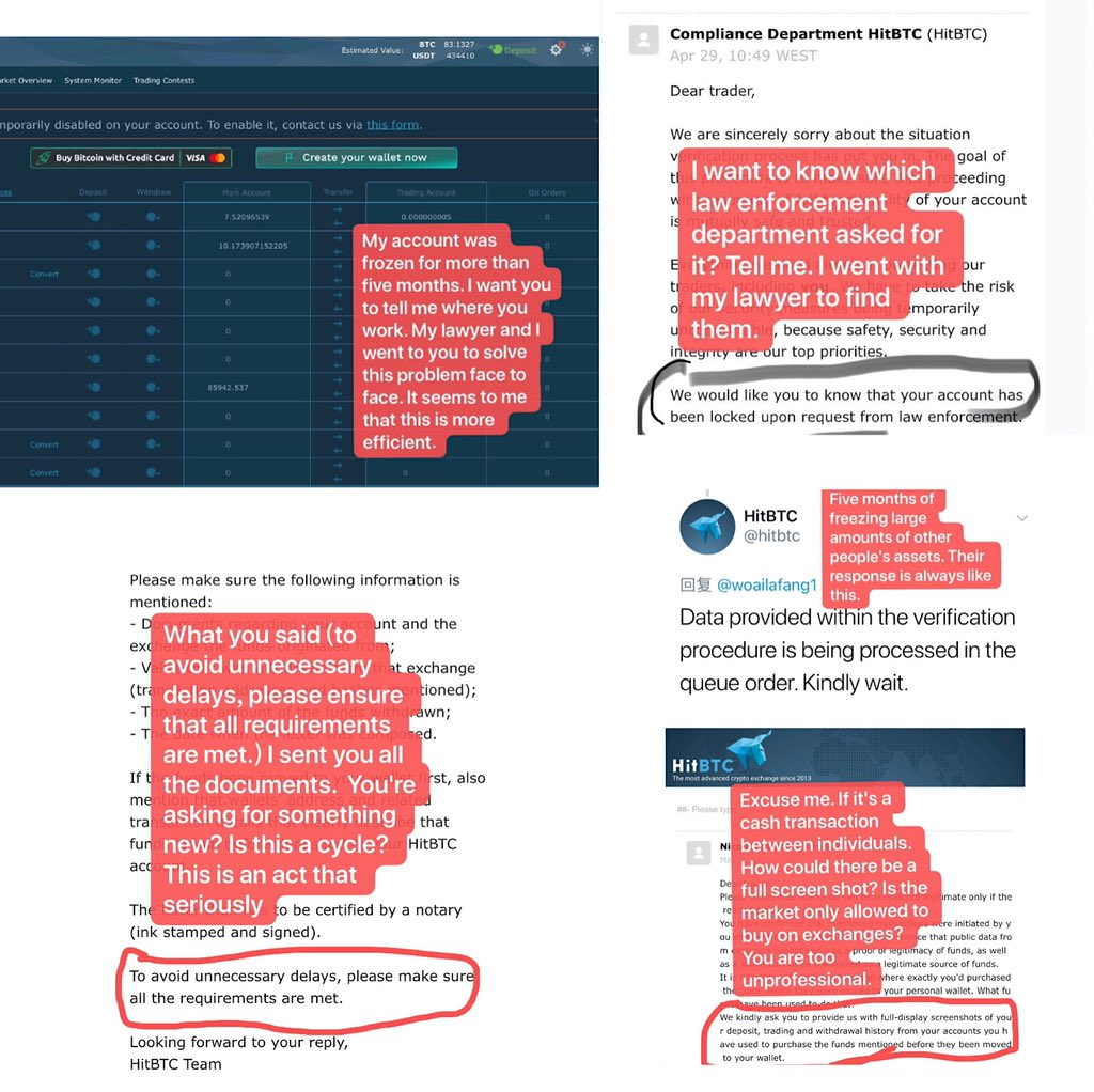 User trying to prrof HitBTC took his funds