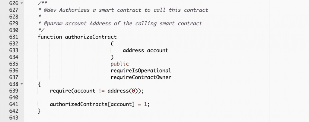 Excerpt from WHEN smart contract code