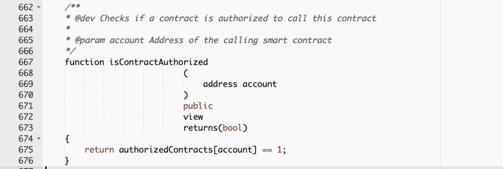 WHEN smart contract code excerpt