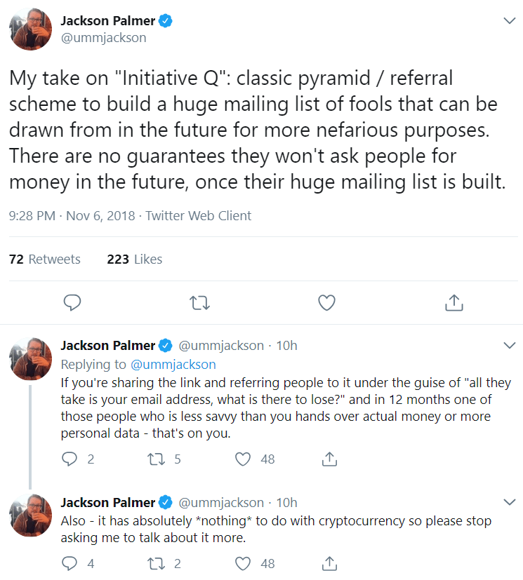 Tweet about Initiative Q from Jackson Palmer