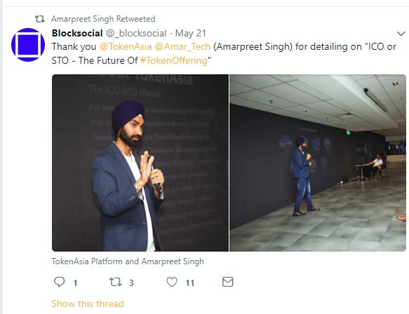 Tweet about Amarpreet Singh