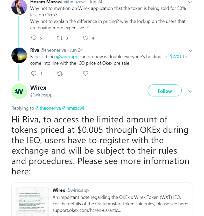 Tweets between Hosam Mazawi, Riva, and Wirex