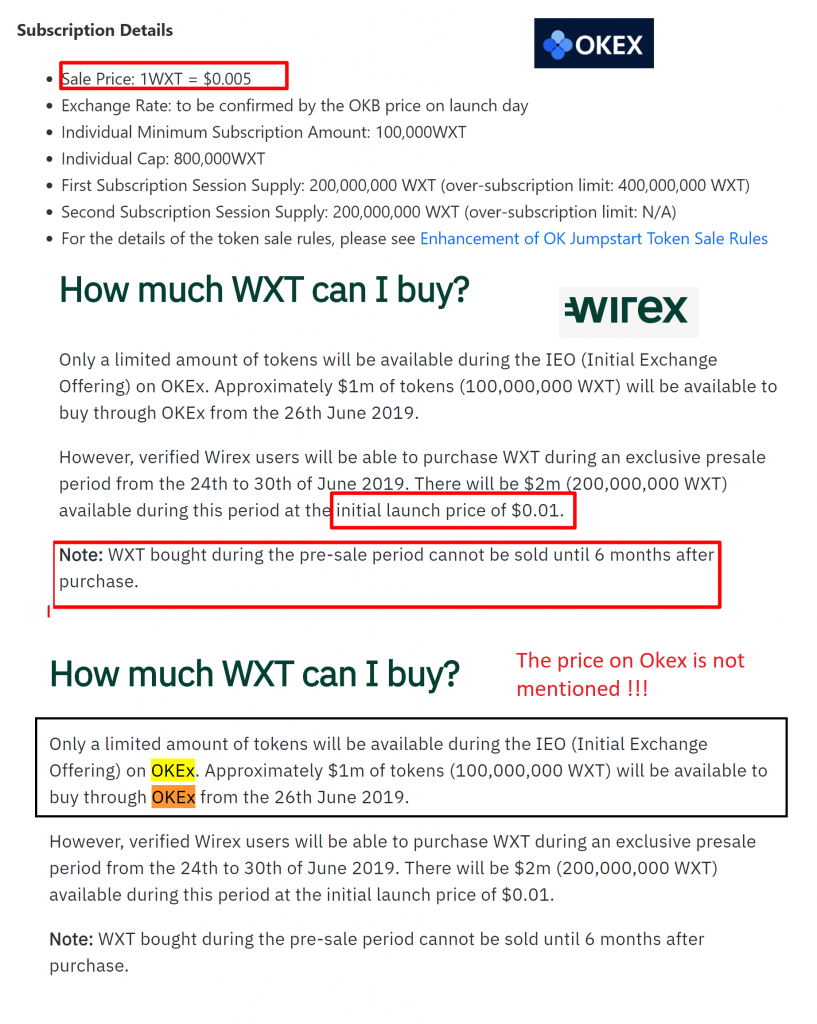 A screenshot showing the cost of Wirex presale and IEO tokens