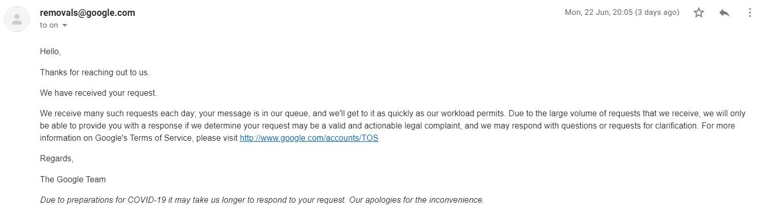 email response from Google
