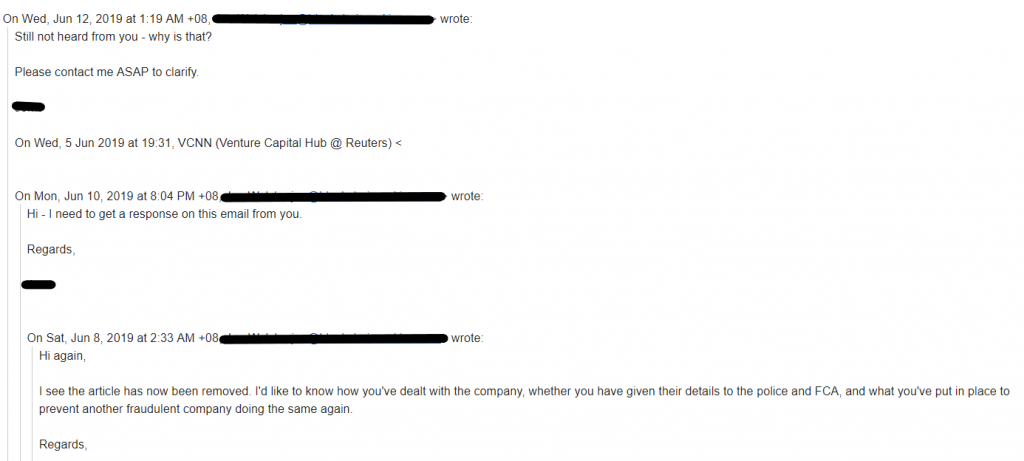 Email from Jon Walsh to Venture Capital Hub @ Reuters