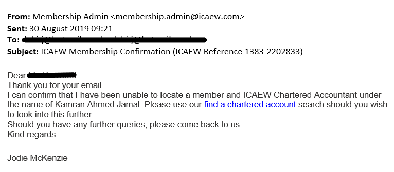 Email from ICAEW