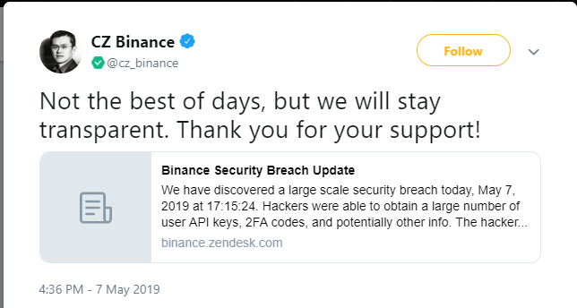 Tweet from Binance founder CZ
